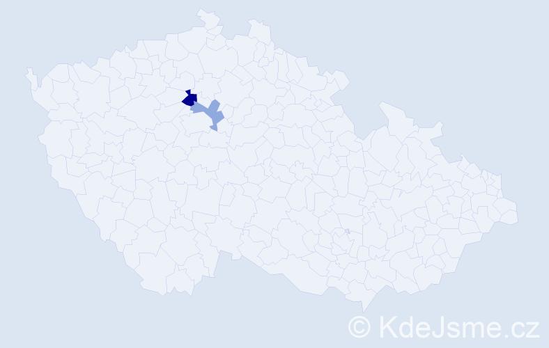 Příjmení: 'Ciprovský', počet výskytů 3 v celé ČR