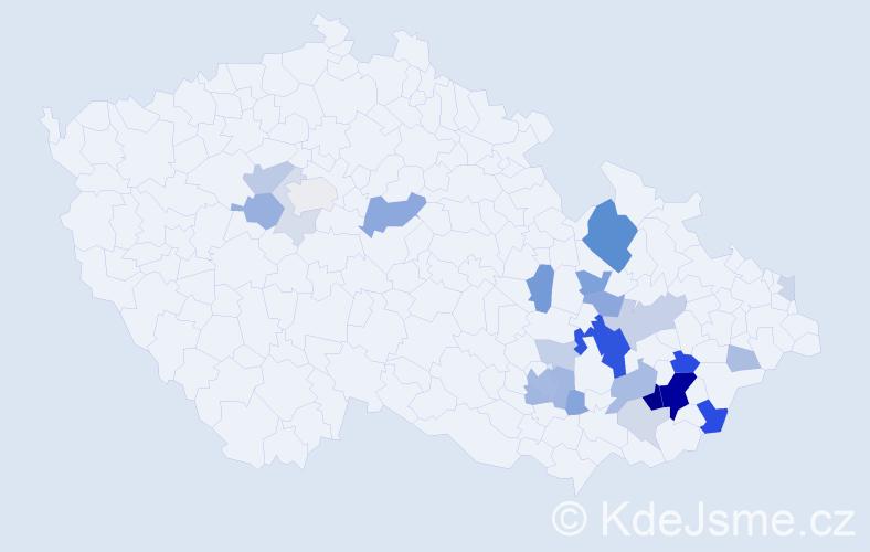Příjmení: 'Hujíček', počet výskytů 76 v celé ČR