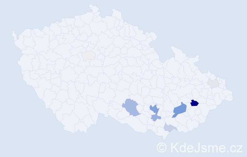 Příjmení: 'Čačala', počet výskytů 24 v celé ČR