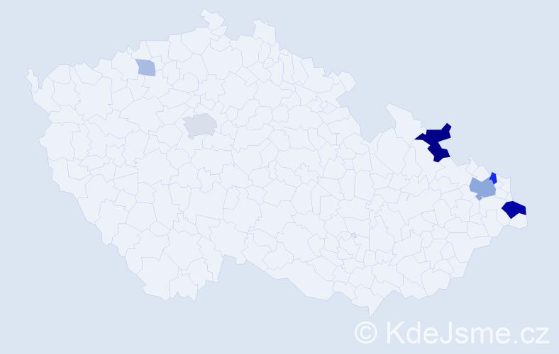 Příjmení: 'Czolko', počet výskytů 19 v celé ČR