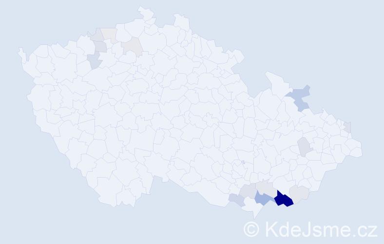 Příjmení: 'Brožovičová', počet výskytů 50 v celé ČR