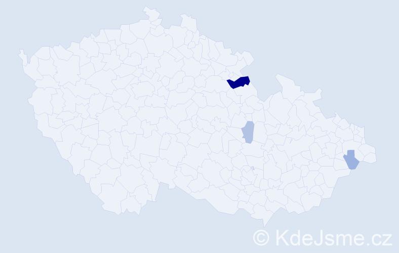 Příjmení: 'Klamíková', počet výskytů 7 v celé ČR