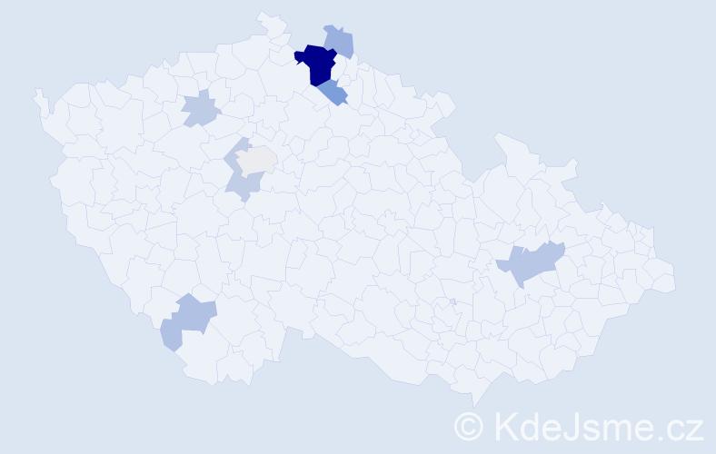 Příjmení: 'Jáčová', počet výskytů 35 v celé ČR
