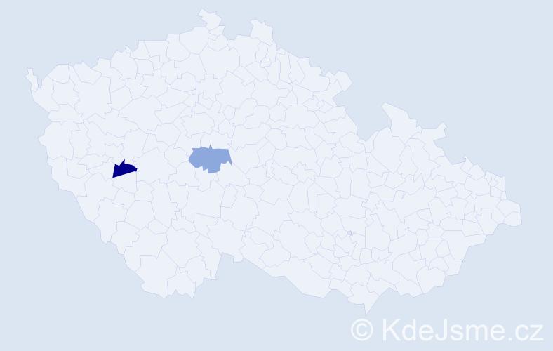 Příjmení: 'Amcirková', počet výskytů 2 v celé ČR