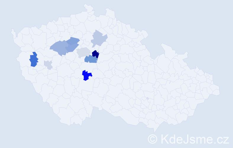 Příjmení: 'Churánková', počet výskytů 16 v celé ČR