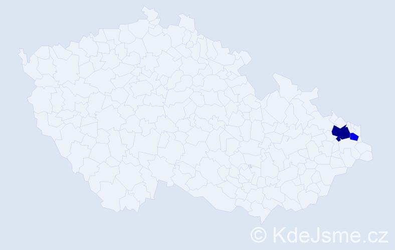 Příjmení: 'Čurlíková', počet výskytů 4 v celé ČR