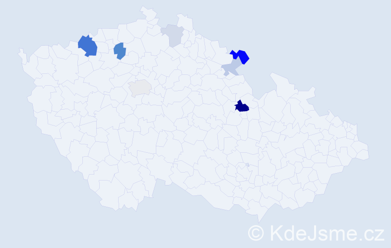 Příjmení: 'Hamp', počet výskytů 18 v celé ČR
