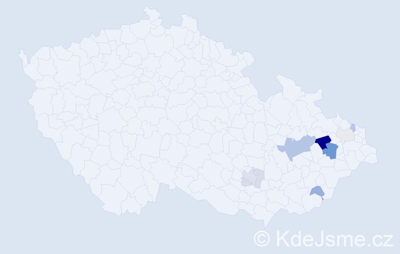 Příjmení: 'Klumpler', počet výskytů 21 v celé ČR