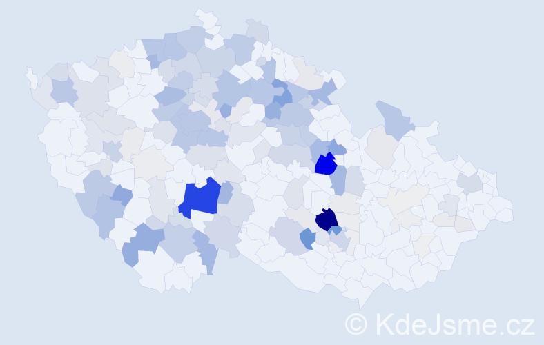 Příjmení: 'Jůza', počet výskytů 641 v celé ČR