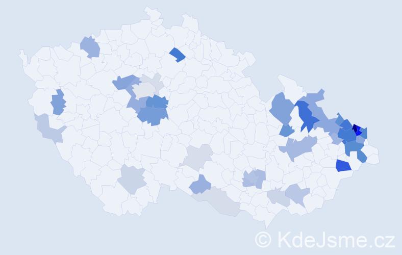Příjmení: 'Babiš', počet výskytů 143 v celé ČR