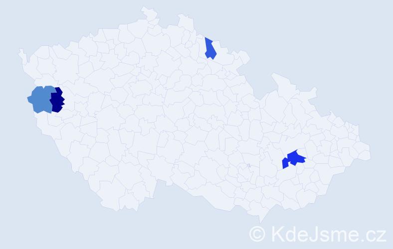 Příjmení: 'Harvančáková', počet výskytů 6 v celé ČR