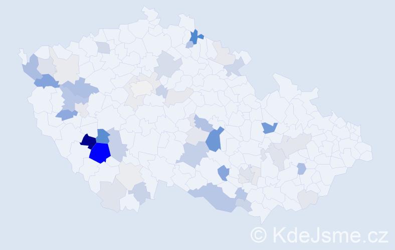Příjmení: 'Pivnička', počet výskytů 135 v celé ČR