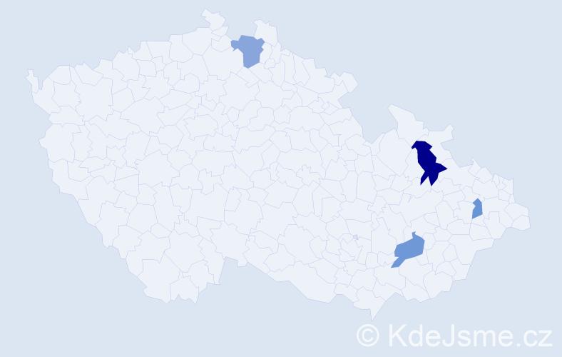 Příjmení: 'Kačanová', počet výskytů 13 v celé ČR