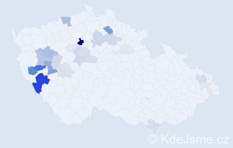 Příjmení: 'Kochman', počet výskytů 74 v celé ČR