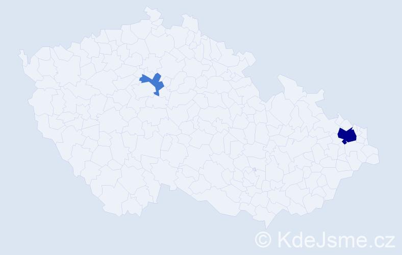 Příjmení: 'Byčánek', počet výskytů 6 v celé ČR