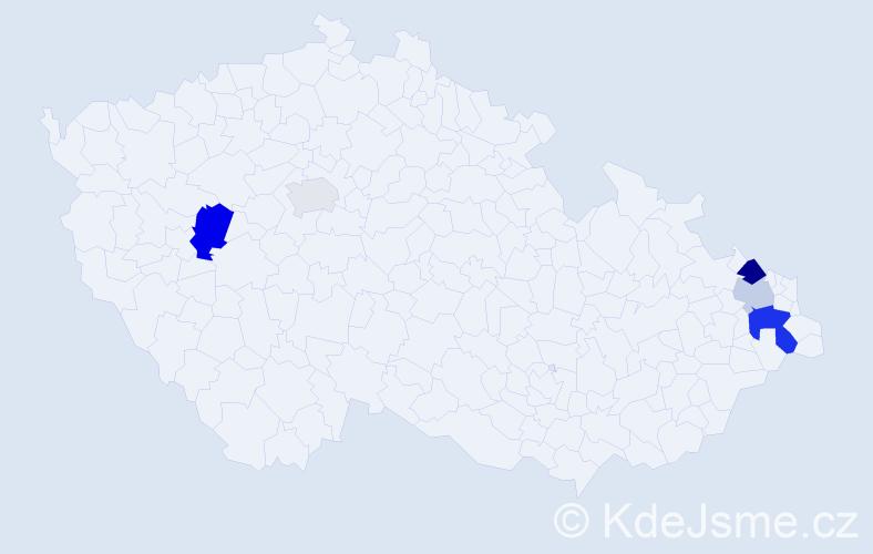 Příjmení: 'Babušák', počet výskytů 9 v celé ČR