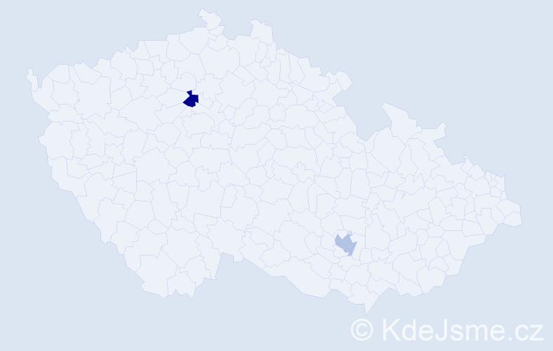 Příjmení: 'Halajčíková', počet výskytů 2 v celé ČR