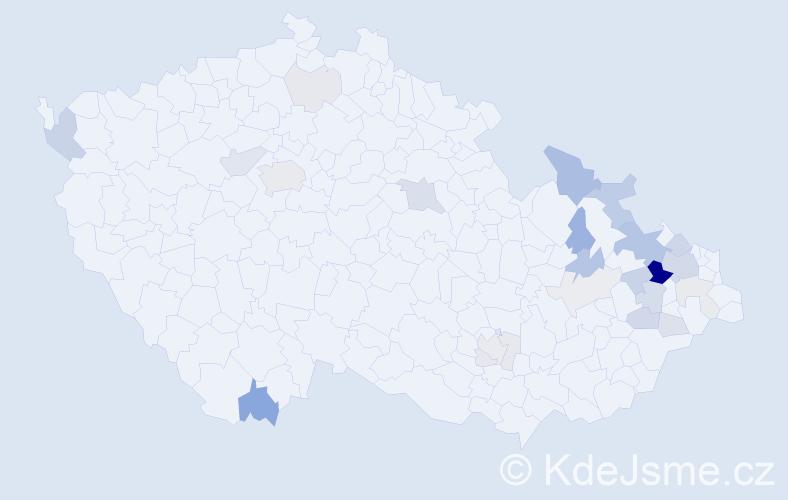Příjmení: 'Čegan', počet výskytů 79 v celé ČR