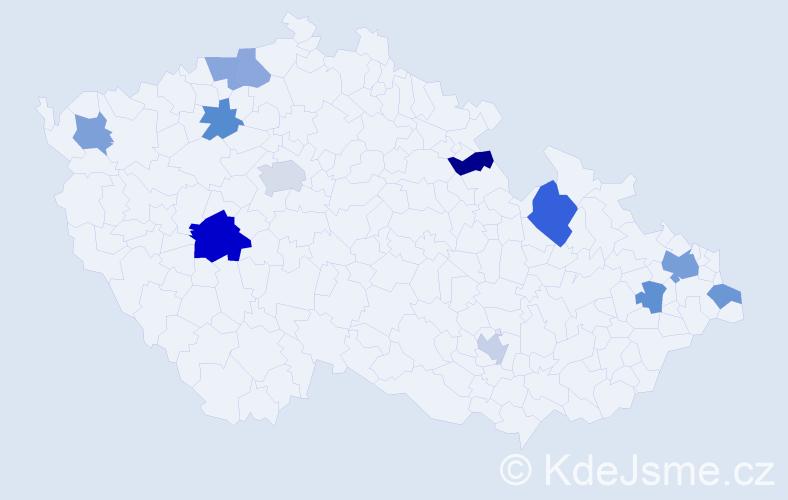 Příjmení: 'Bobeková', počet výskytů 18 v celé ČR