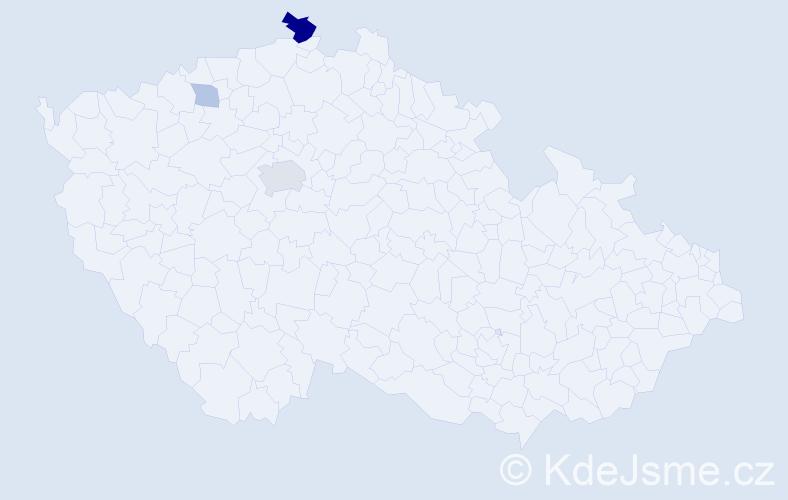 Příjmení: 'Holk', počet výskytů 8 v celé ČR