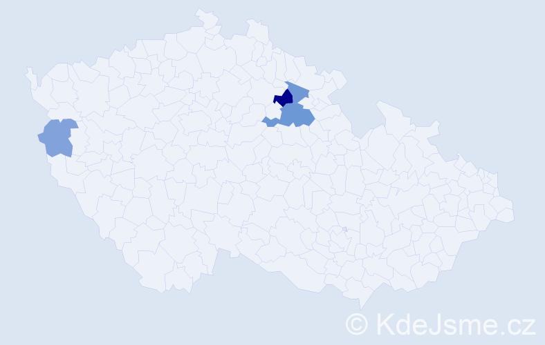 Příjmení: 'Klišč', počet výskytů 8 v celé ČR