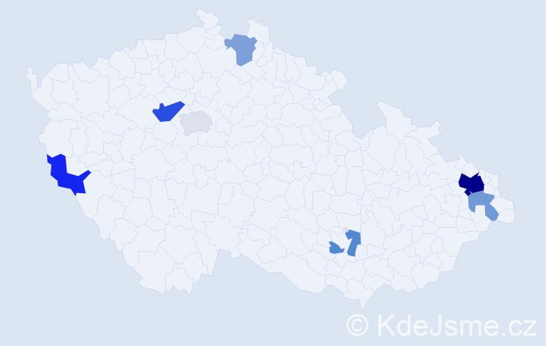 Příjmení: 'Koláčová', počet výskytů 14 v celé ČR