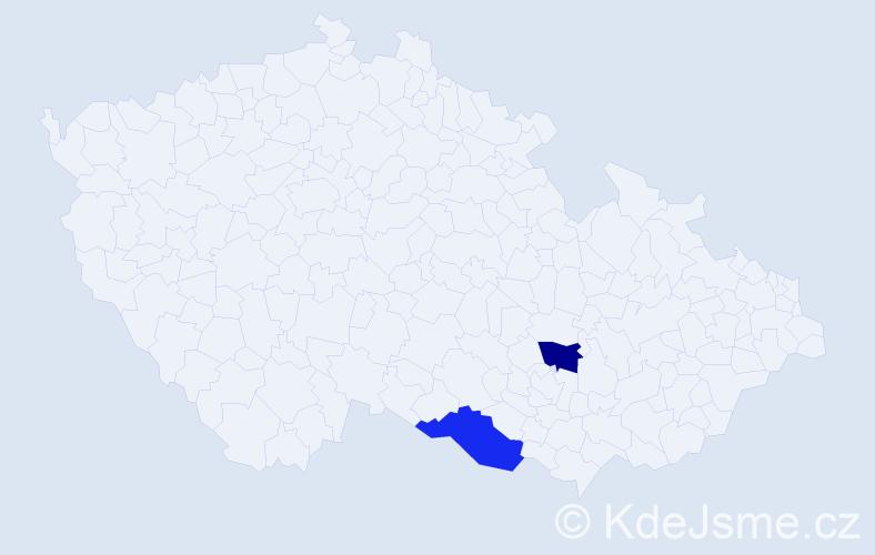 """Příjmení: '""""Le Minh""""', počet výskytů 2 v celé ČR"""