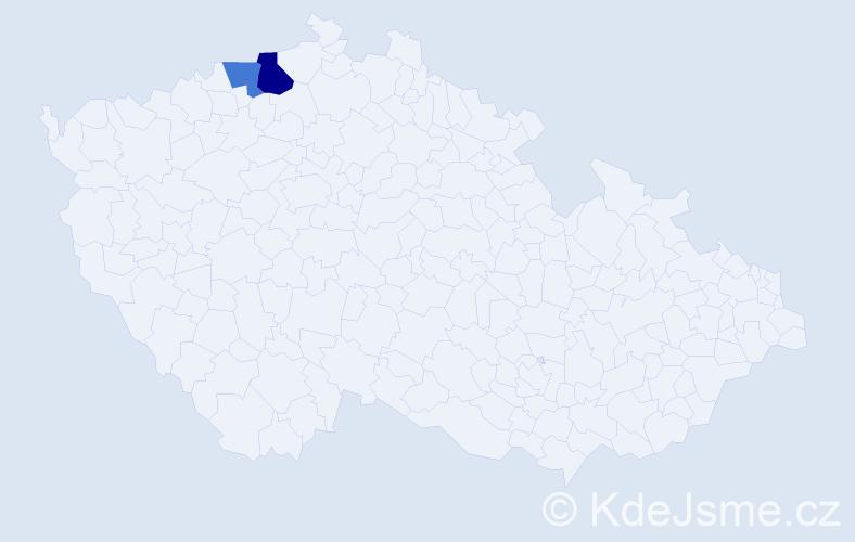 Příjmení: 'Figedi', počet výskytů 3 v celé ČR