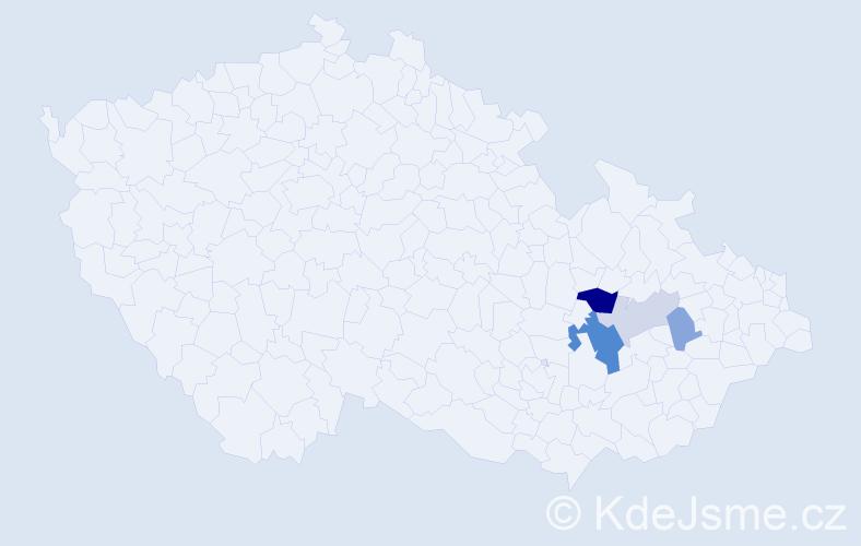 Příjmení: 'Fryšáková', počet výskytů 10 v celé ČR