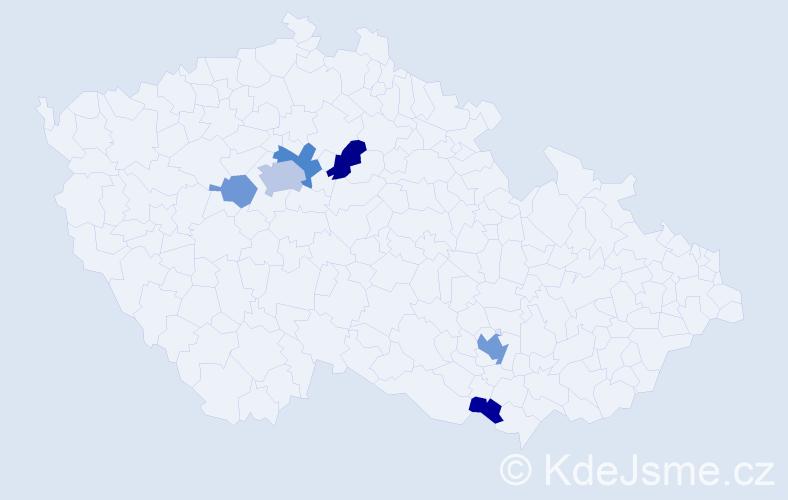 Příjmení: 'Čištín', počet výskytů 14 v celé ČR