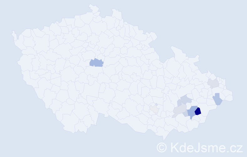 Příjmení: 'Balůsek', počet výskytů 23 v celé ČR