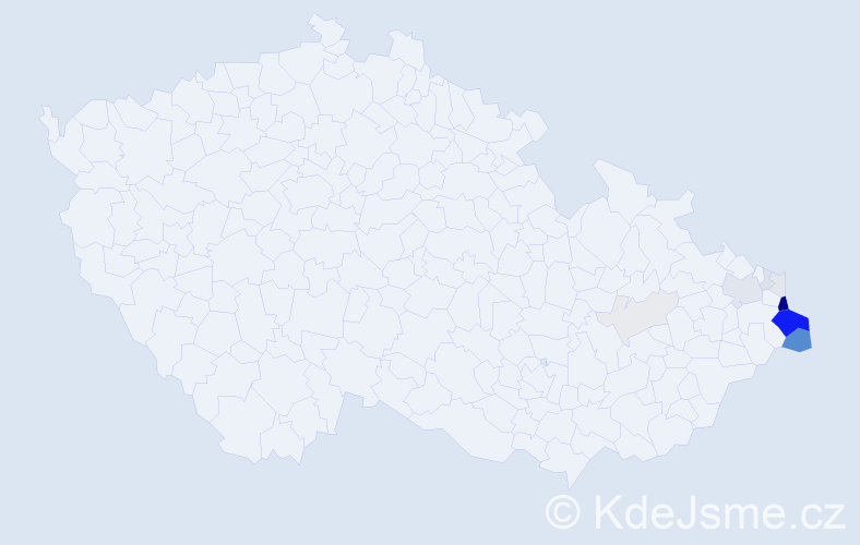 Příjmení: 'Huczala', počet výskytů 44 v celé ČR