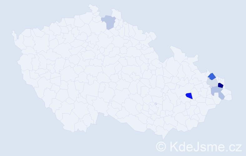 Příjmení: 'Hatrik', počet výskytů 13 v celé ČR
