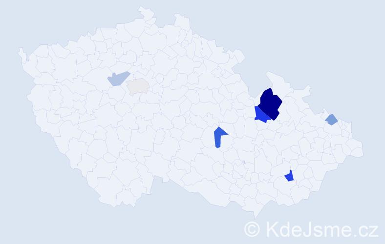 Příjmení: 'Babištová', počet výskytů 14 v celé ČR
