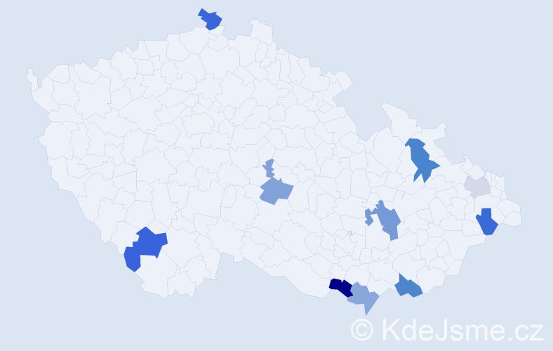 Příjmení: 'Dubravec', počet výskytů 27 v celé ČR