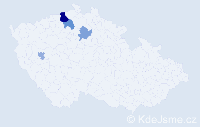 Příjmení: 'Čelleňuk', počet výskytů 7 v celé ČR