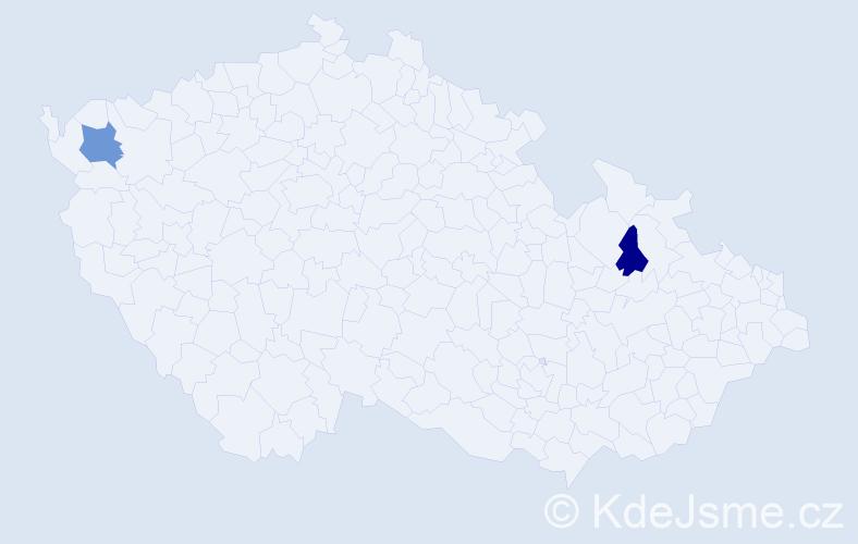 Příjmení: 'Hegeduš', počet výskytů 5 v celé ČR
