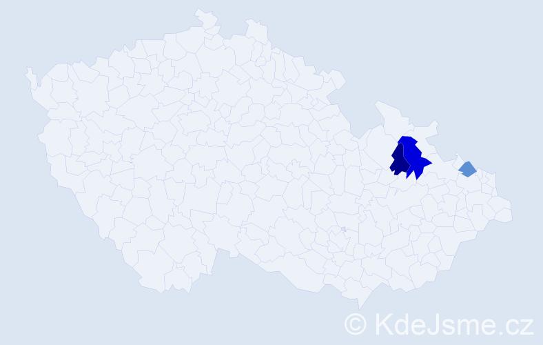 Příjmení: 'Ďurkačová', počet výskytů 4 v celé ČR