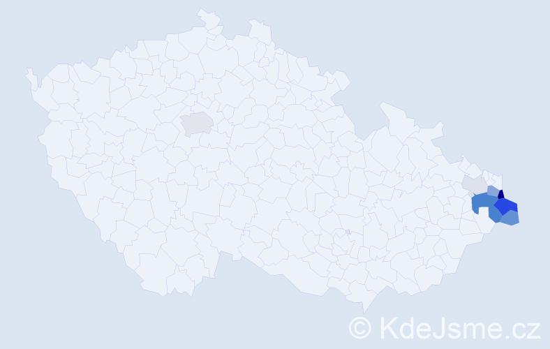 Příjmení: 'Ciahotný', počet výskytů 18 v celé ČR