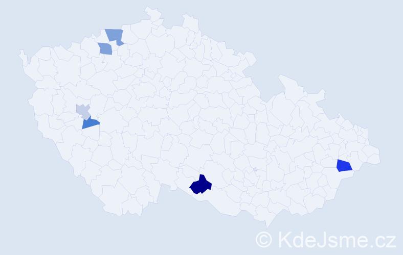 Příjmení: 'Cébe', počet výskytů 18 v celé ČR
