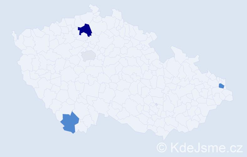 Příjmení: 'Hutár', počet výskytů 7 v celé ČR