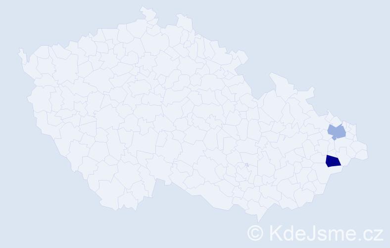 Příjmení: 'Hanas', počet výskytů 4 v celé ČR