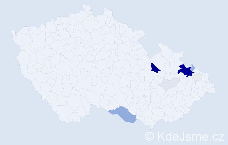Příjmení: 'Cábel', počet výskytů 38 v celé ČR