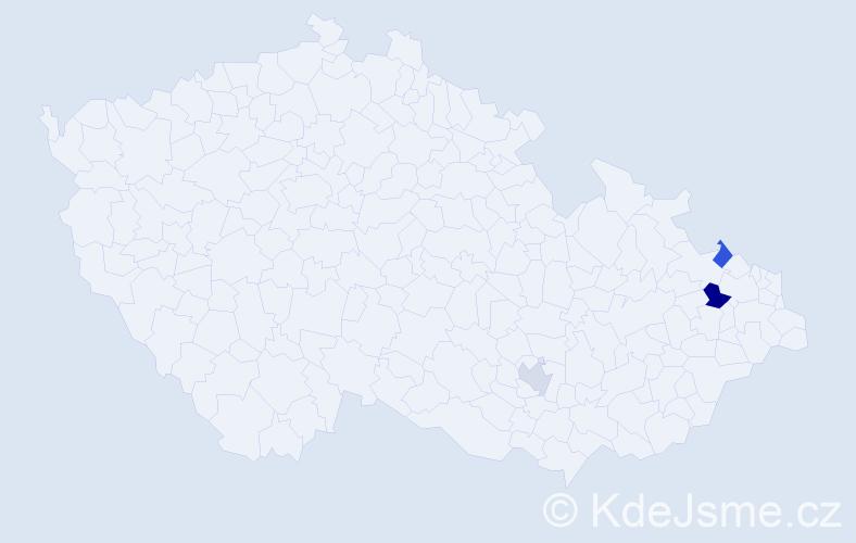 Příjmení: 'Gres', počet výskytů 4 v celé ČR