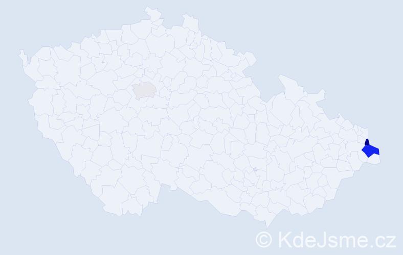 Příjmení: 'Dänemarková', počet výskytů 12 v celé ČR