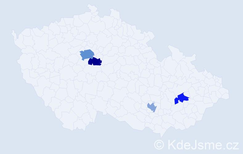 Příjmení: 'Galandová', počet výskytů 8 v celé ČR