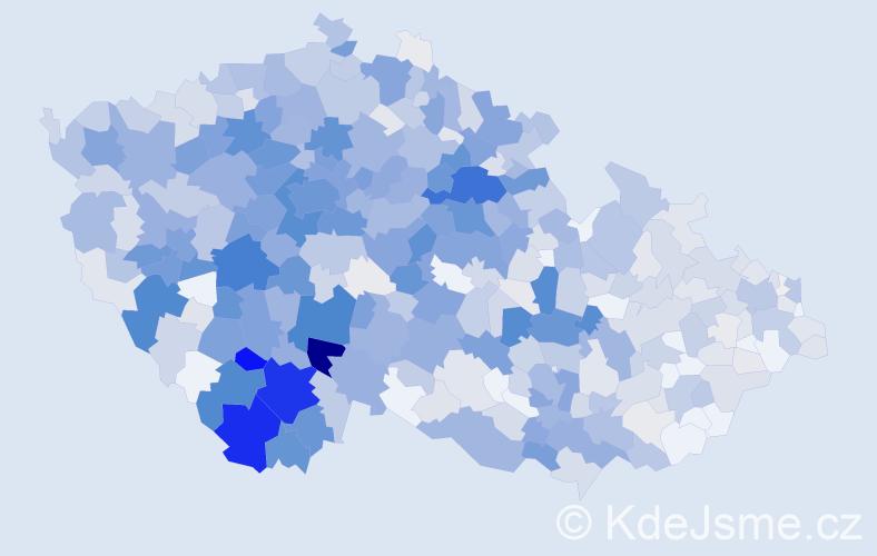 Příjmení: 'Čížek', počet výskytů 3793 v celé ČR