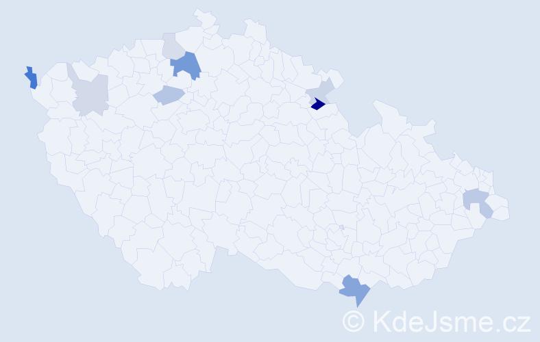 Příjmení: 'Gargalík', počet výskytů 18 v celé ČR