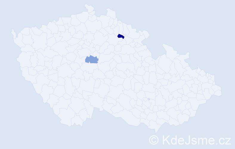 Příjmení: 'Cordova', počet výskytů 2 v celé ČR