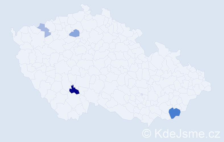 Příjmení: 'Farýová', počet výskytů 8 v celé ČR